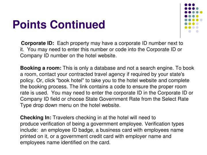 Points Continued