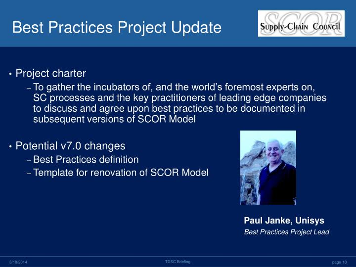 Best Practices Project Update