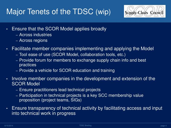 Major Tenets of the TDSC