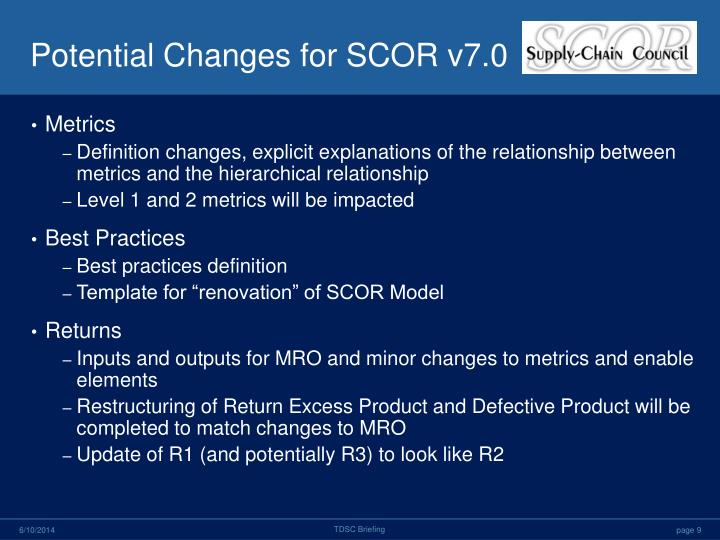 Potential Changes for SCOR v7.0