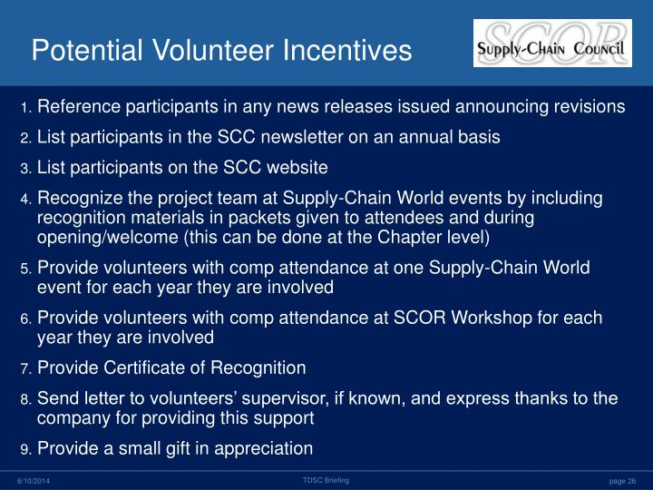 Potential Volunteer Incentives