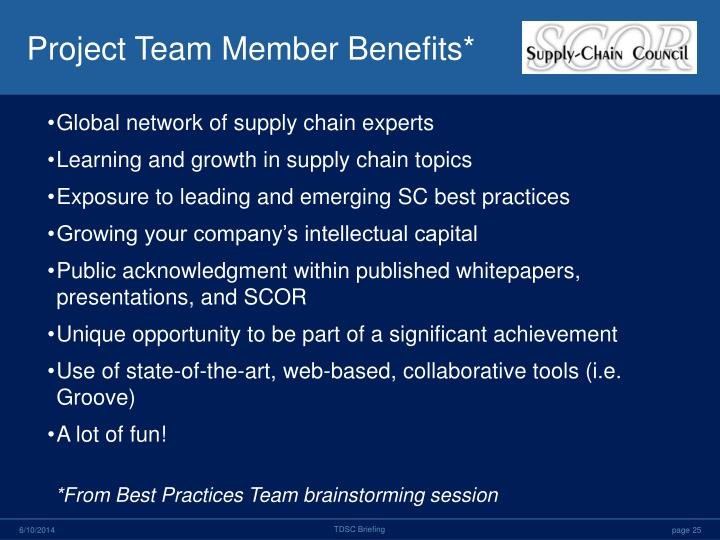 Project Team Member Benefits*
