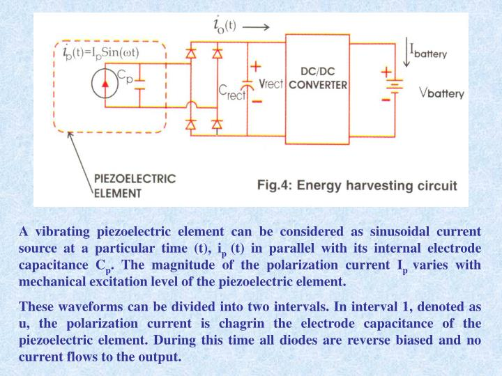 A vibrating piezoelectric element can be considered as sinusoidal current source at a particular time (t), i