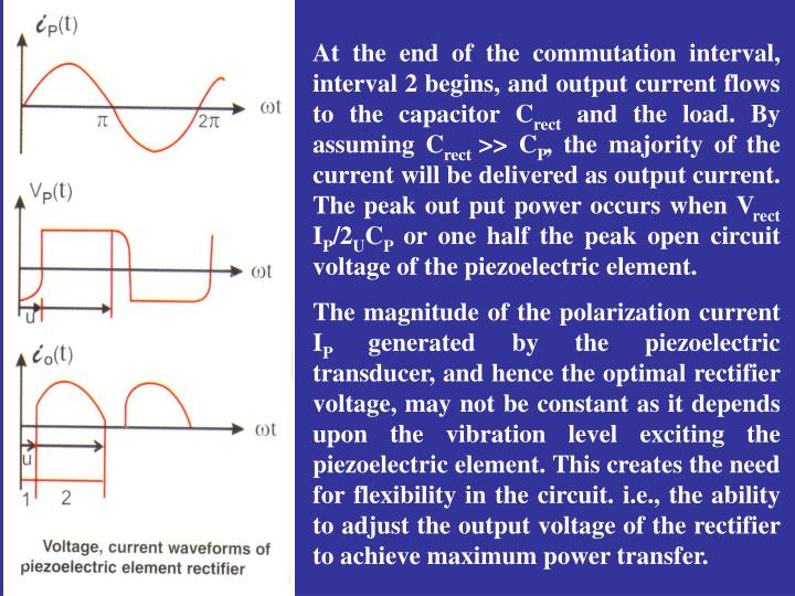 At the end of the commutation interval, interval 2 begins, and output current flows to the capacitor C