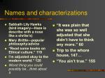 names and characterizations
