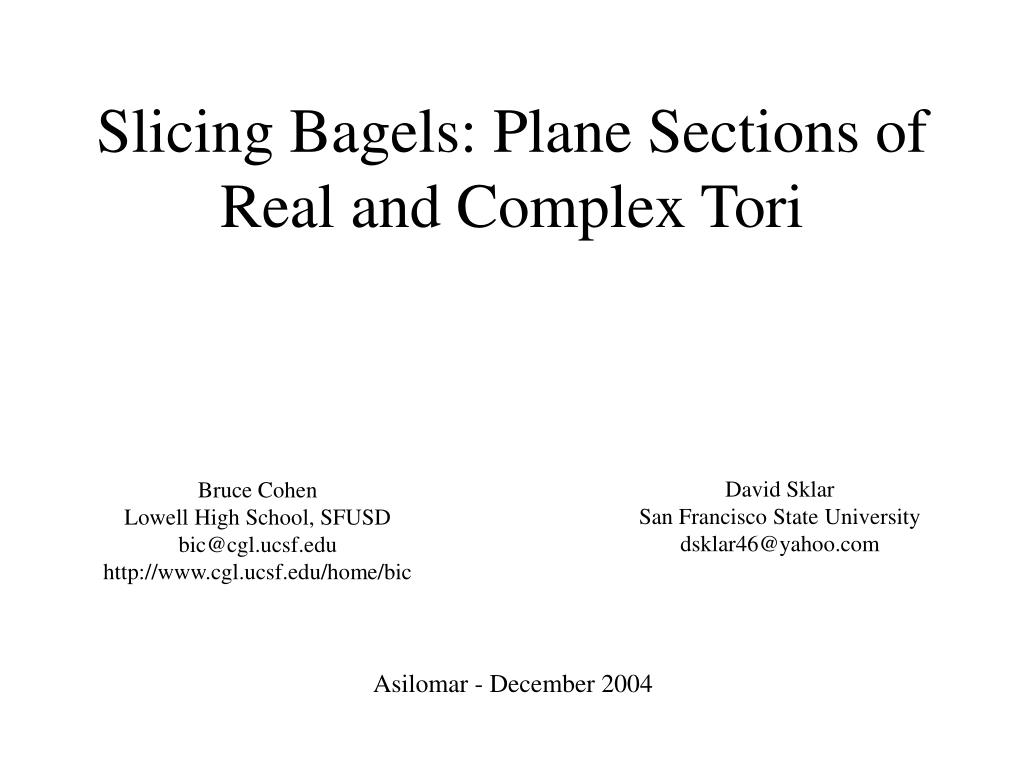 Slicing Bagels: Plane Sections of Real and Complex Tori