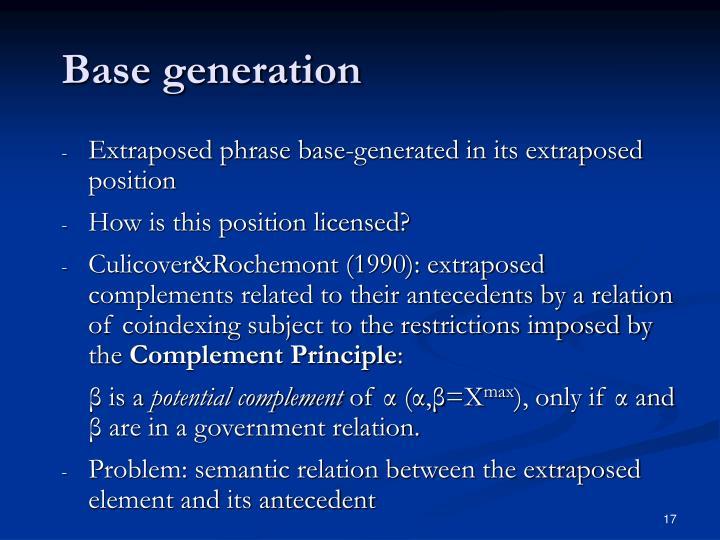 Base generation