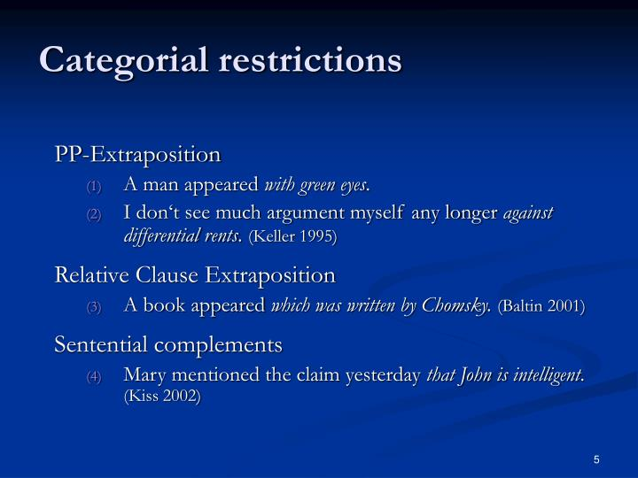Categorial restrictions