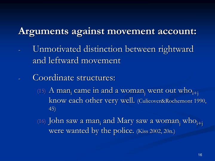 Arguments against movement account: