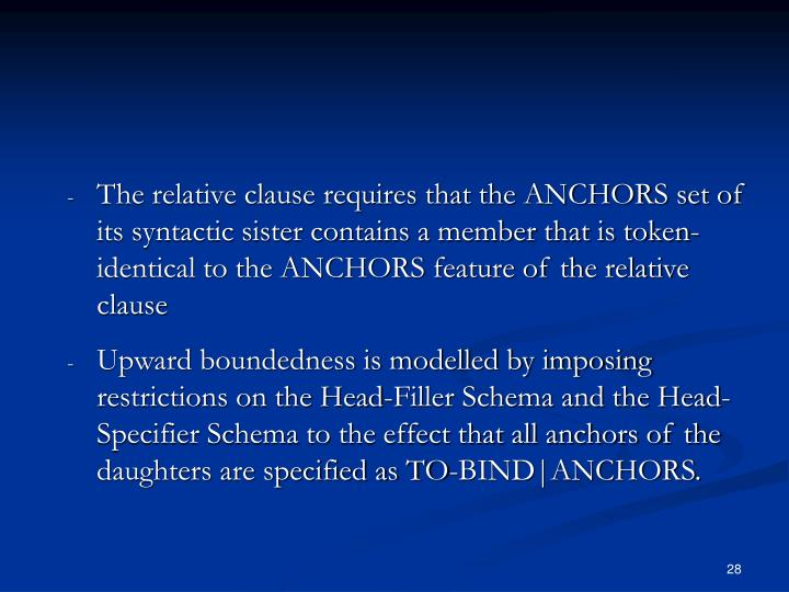 The relative clause requires that the ANCHORS set of its syntactic sister contains a member that is token-identical to the ANCHORS feature of the relative clause