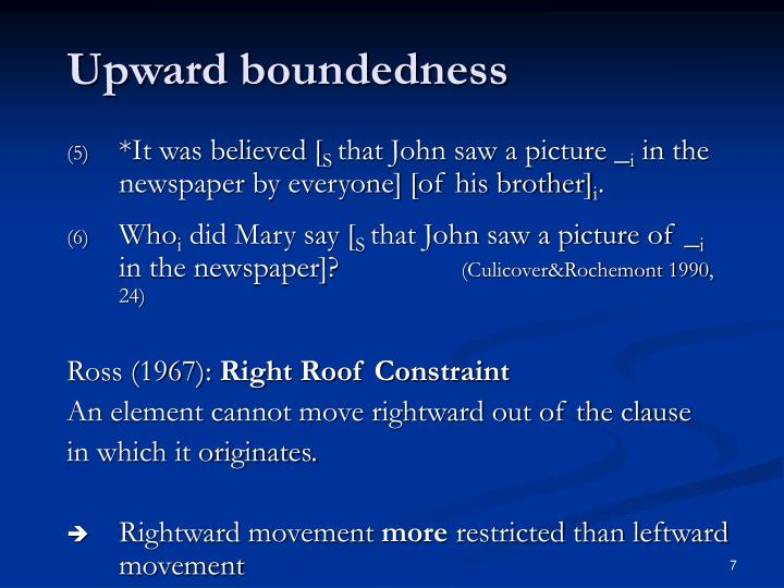 Upward boundedness