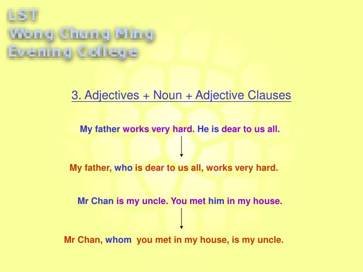 3. Adjectives + Noun + Adjective Clauses