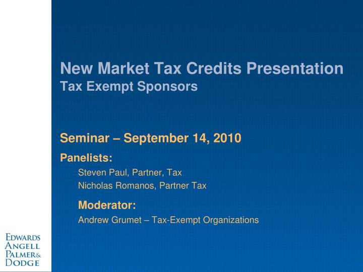 new market tax credits presentation tax exempt sponsors n.
