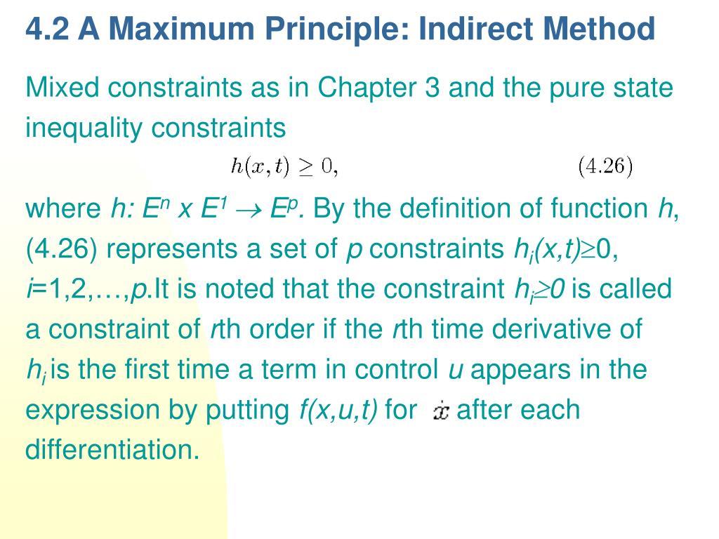 4.2 A Maximum Principle: Indirect Method