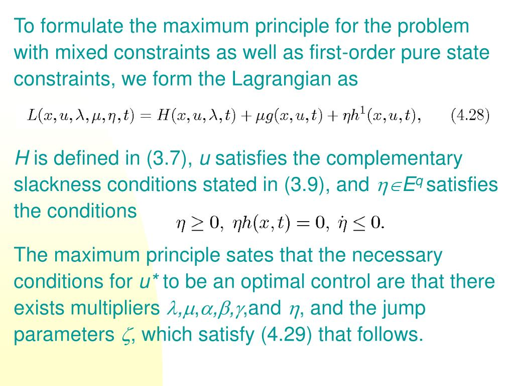 To formulate the maximum principle for the problem