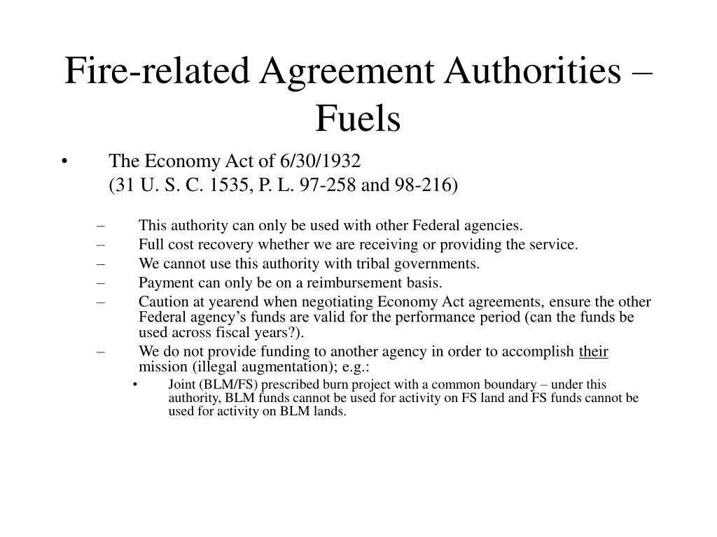 Fire-related Agreement Authorities –