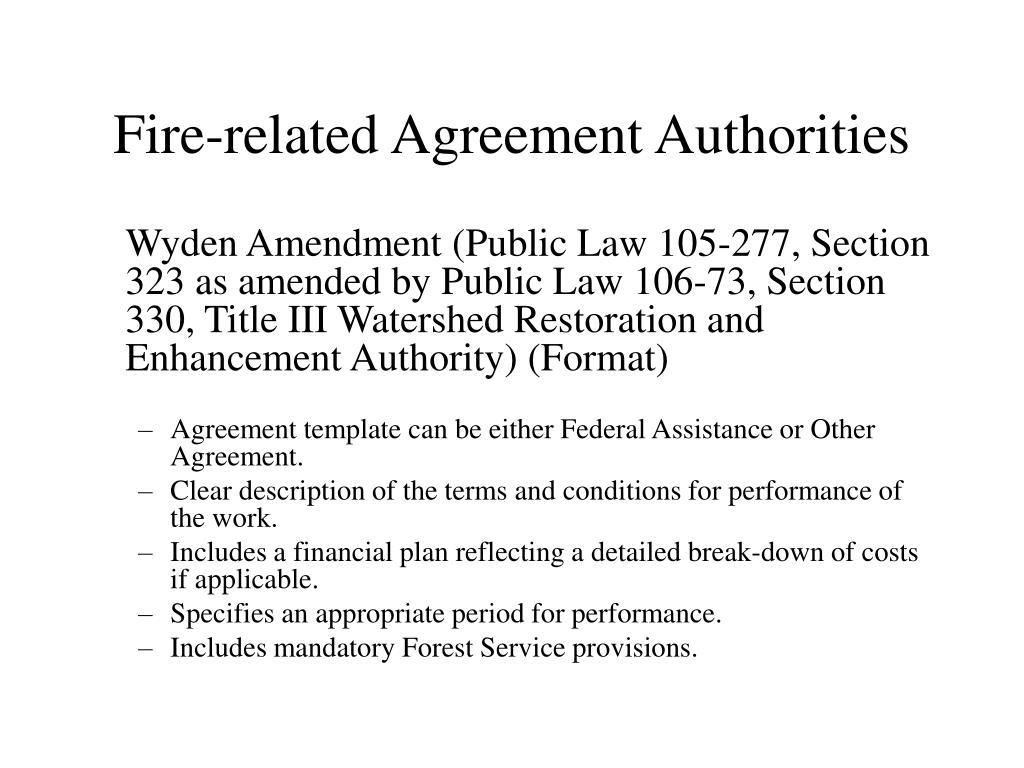 Fire-related Agreement Authorities