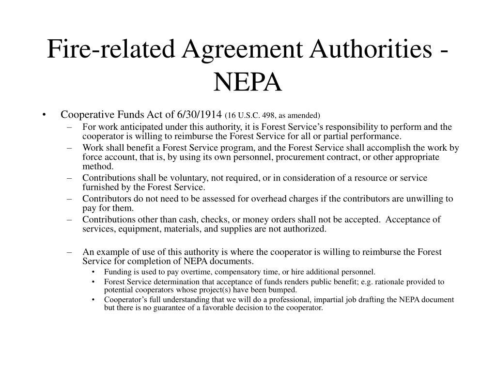 Fire-related Agreement Authorities - NEPA