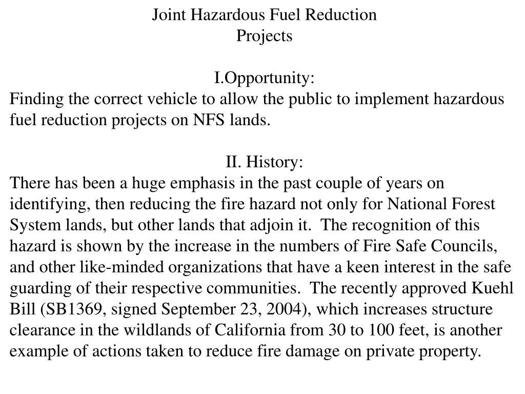 Joint Hazardous Fuel Reduction