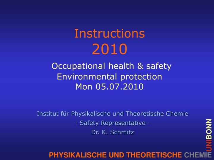 instructions 2010 occupational health safety environmental protection mon 05 07 2010 n.