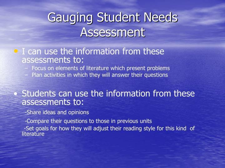Gauging Student Needs Assessment
