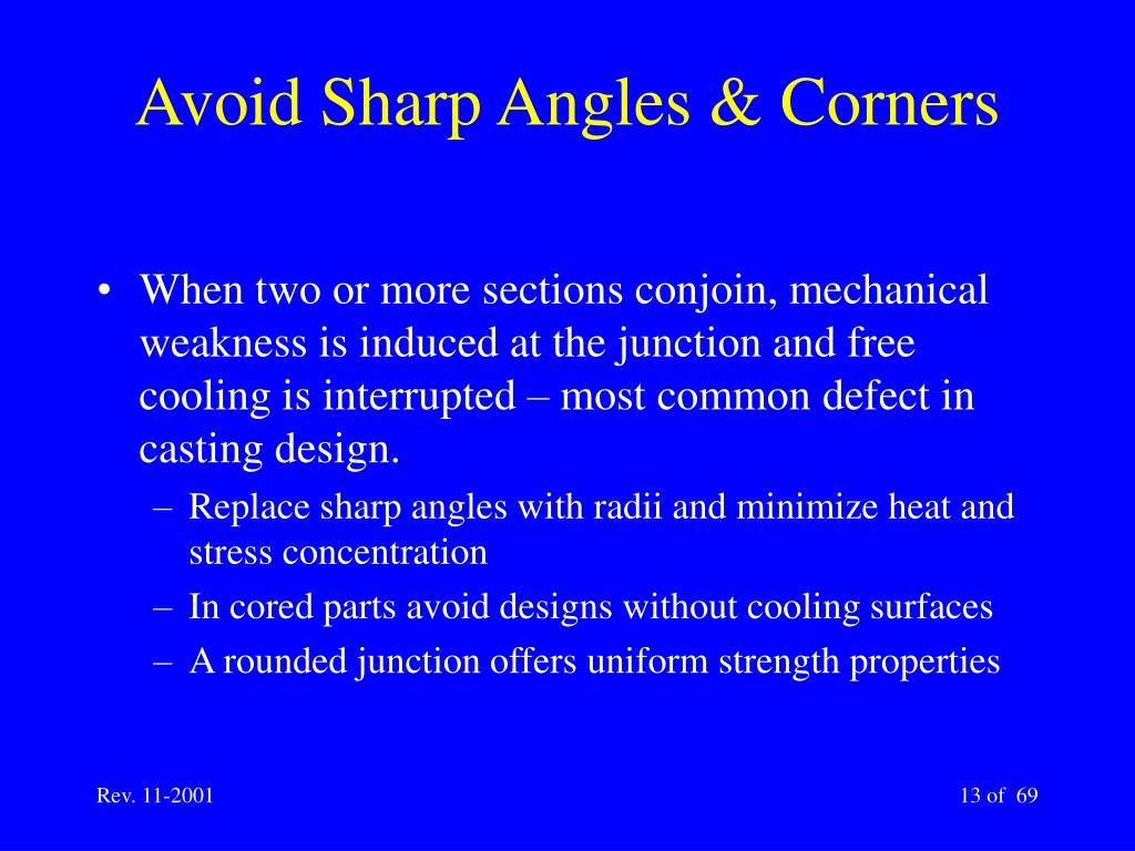 Avoid Sharp Angles & Corners