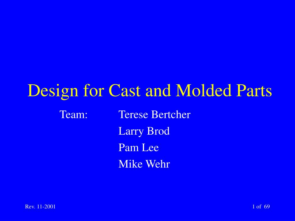 design for cast and molded parts l.