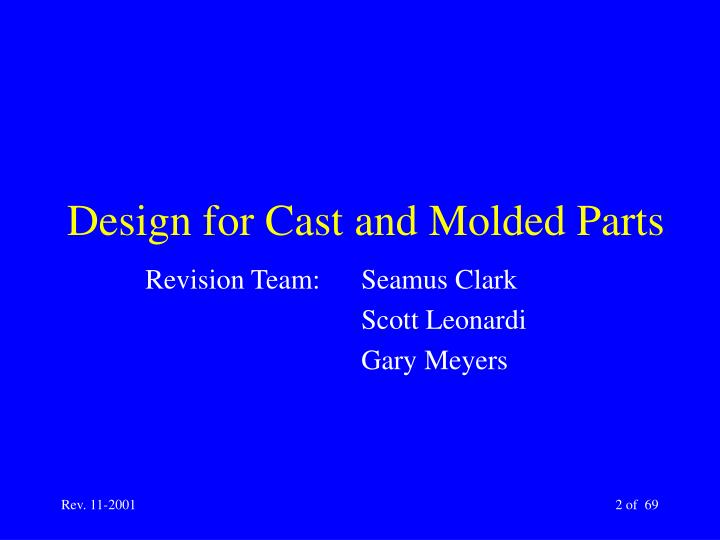 Design for cast and molded parts2