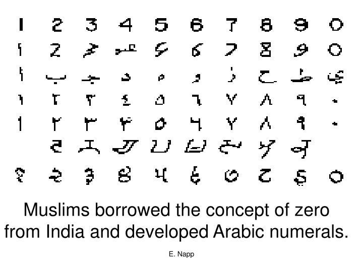 Muslims borrowed the concept of zero