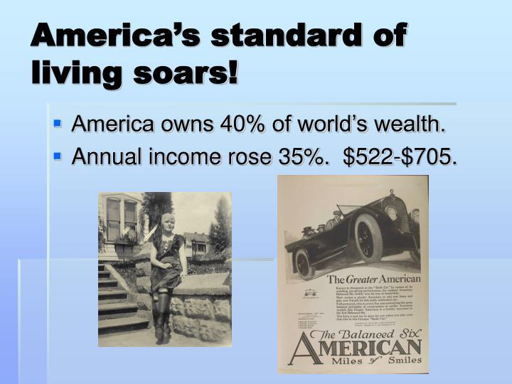 America's standard of living soars!
