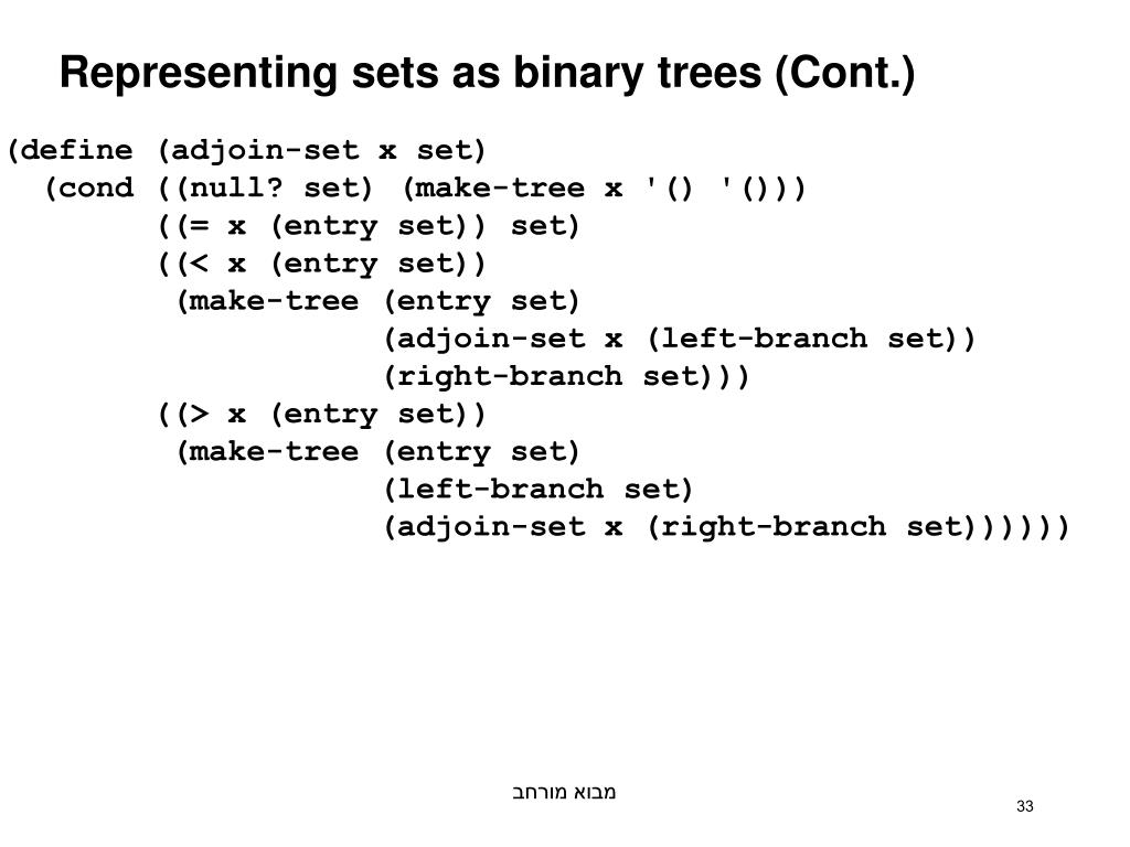 Representing sets as binary trees (Cont.)