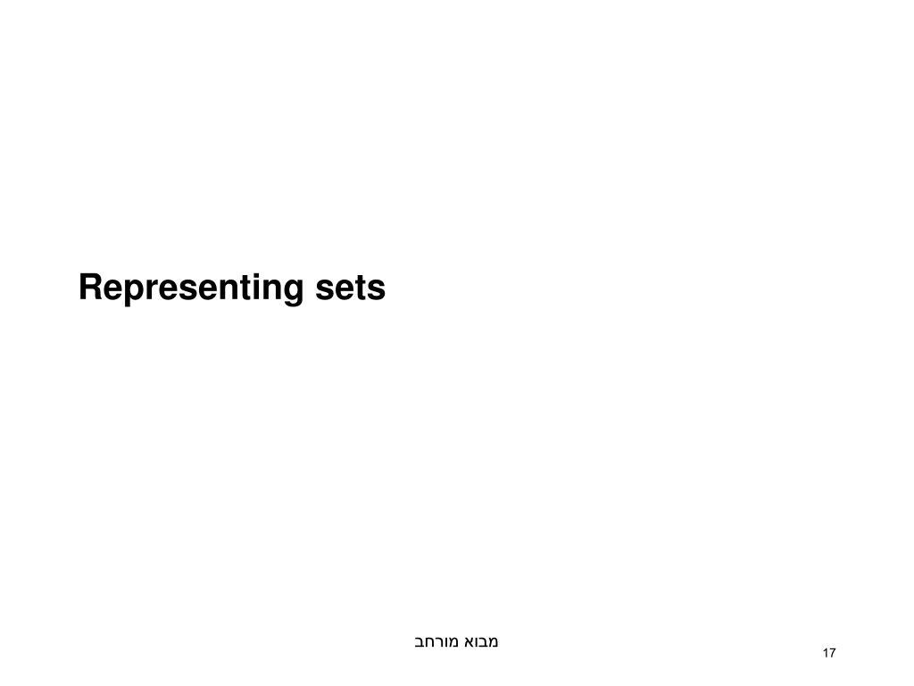Representing sets