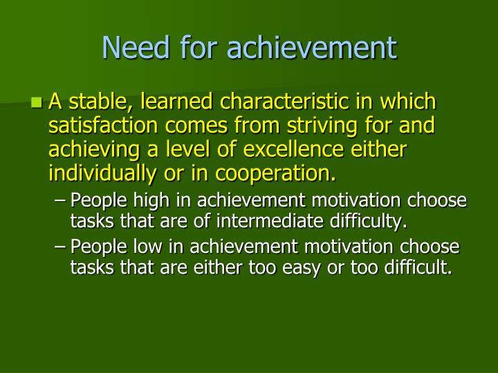 Need for achievement