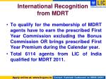 international recognition from mdrt1
