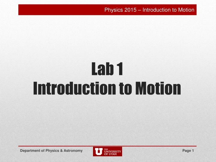 lab 1 introduction to motion n.
