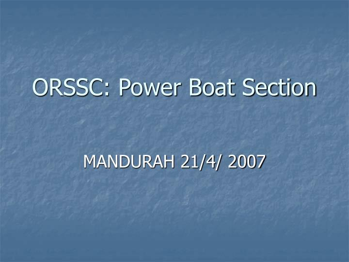 orssc power boat section n.