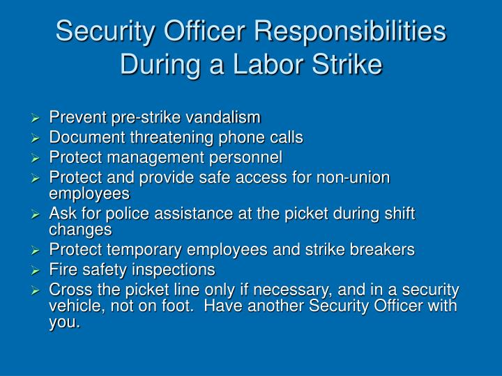 Security Officer Responsibilities During a Labor Strike