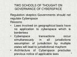 two schools of thought on governance of cyberspace