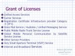 grant of licenses