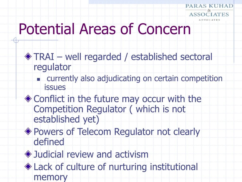Potential Areas of Concern