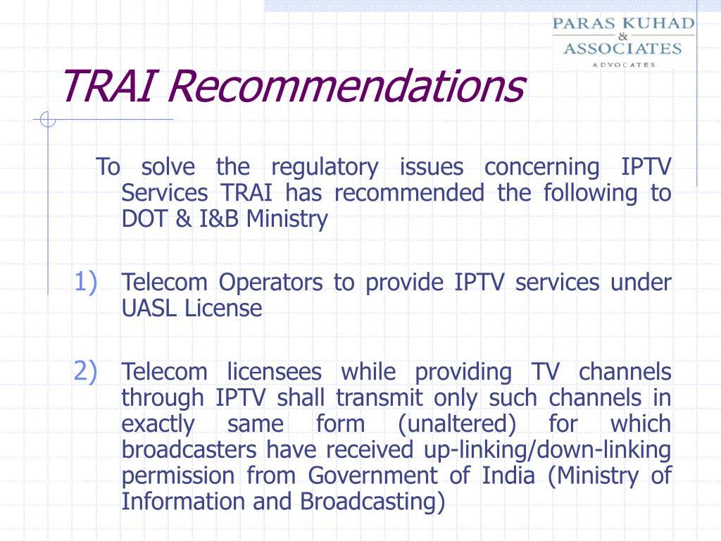 TRAI Recommendations