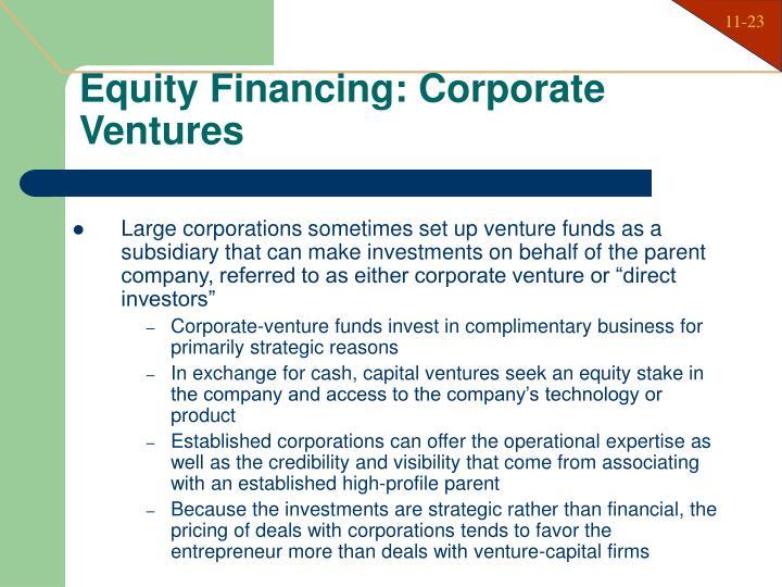Equity Financing: Corporate Ventures