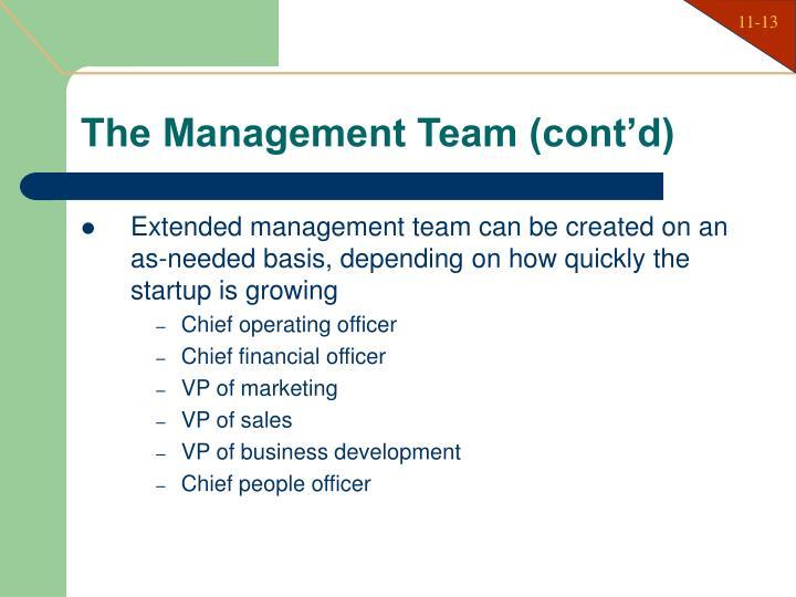 The Management Team (cont'd)