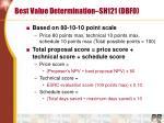 best value determination sh121 dbfo