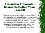 evaluating proposals source selection team cont d