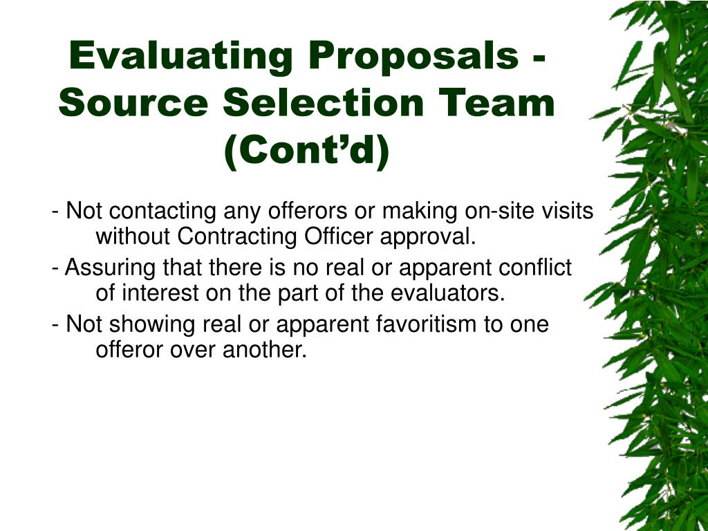 Evaluating Proposals - Source Selection Team