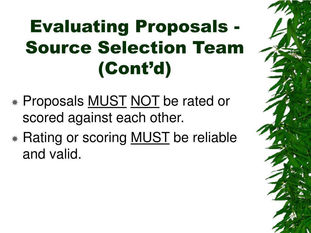 Evaluating Proposals -