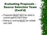 evaluating proposals source selection team cont d20