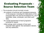 evaluating proposals source selection team