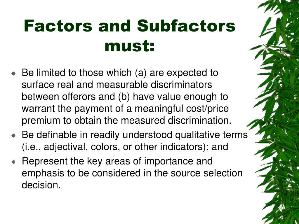 Factors and Subfactors must: